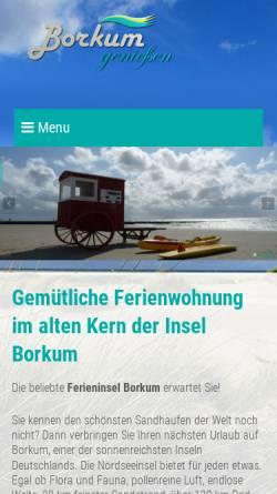 Vorschau der mobilen Webseite www.borkum-geniessen.de, Ferienwohnung, Familie Bäumer