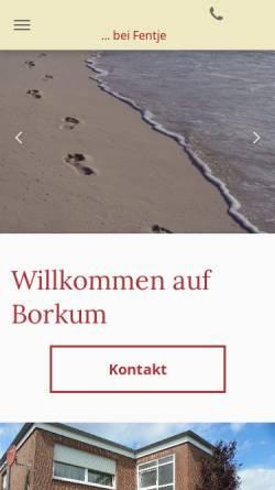 Vorschau der mobilen Webseite fentje.de, Ferienwohnung Fentje