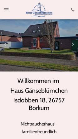 Vorschau der mobilen Webseite www.bett-auf-borkum.de, Ferienwohnungen Haus Gänseblümchen