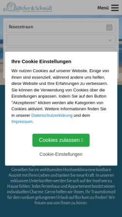 Vorschau der mobilen Webseite www.borkum-boettcher.de, Ferienwohnungen und Appartements Böttcher