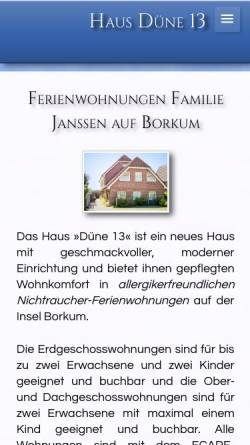 Vorschau der mobilen Webseite www.haus-duene-13-borkum.de, Haus Düne 13