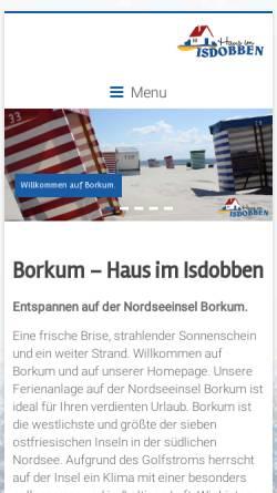 Vorschau der mobilen Webseite www.isdobben-borkum.de, Haus im Isdobben