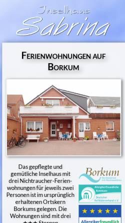 Vorschau der mobilen Webseite www.inselhaus-sabrina.de, Inselhaus Sabrina