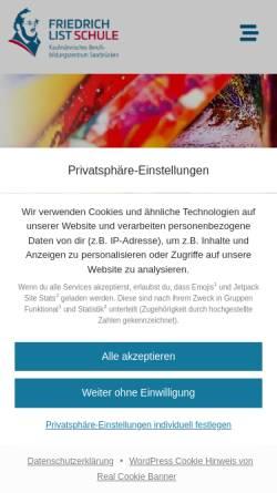 Vorschau der mobilen Webseite kbbz-sb.de, KBBZ Friedrich-List-Schule Kaufmännisches Berufsbildungszentrum Stengelstraße