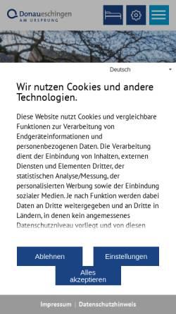 Vorschau der mobilen Webseite www.donaueschingen.de, Donaueschingen