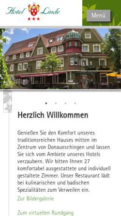 Vorschau der mobilen Webseite www.hotel-linde-ds.de, Hotel Linde