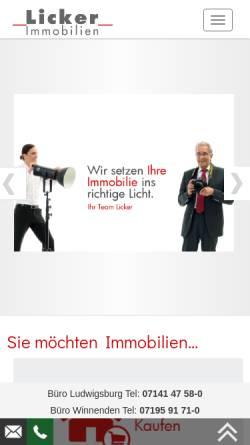 Vorschau der mobilen Webseite www.licker.de, F.C. Licker Immobilien GmbH