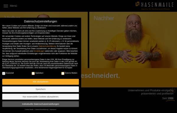 Vorschau von www.hasenmaile.de, Hasenmaile Unternehmenspräsentation - Agentur für Werbung und Messe