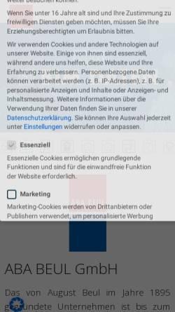 Vorschau der mobilen Webseite www.ababeul.de, Aba Beul GmbH