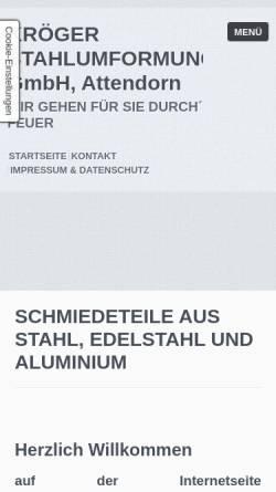 Vorschau der mobilen Webseite www.kroeger-stahlumformung.de, Kröger Stahlumformung GmbH