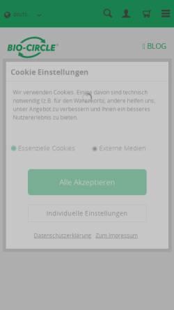 Vorschau der mobilen Webseite www.bio-circle.de, Bio-Circle Surface Technology GmbH
