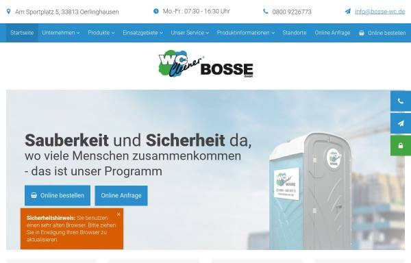 Vorschau von www.bosse-wc.de, WC-Cleener Mietservice Bosse GmbH