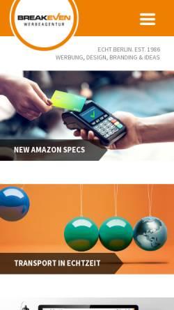 Vorschau der mobilen Webseite www.breakeven-berlin.de, Breakeven Gesellschaft für Werbung und Kommunikation mbH