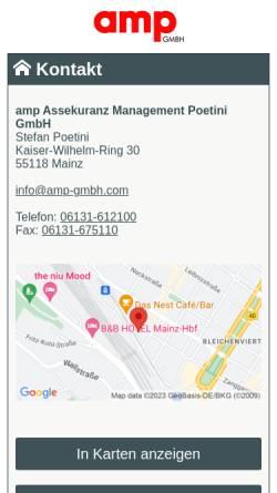 Vorschau der mobilen Webseite www.amp-gmbh.de, amp Assekuranz Management Poetini GmbH