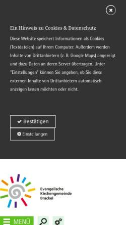 Vorschau der mobilen Webseite www.ev-kirche-brackel.de, Kirchengemeinde Brackel