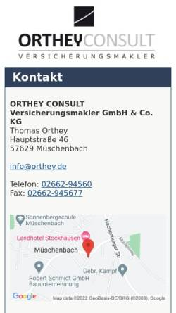 Vorschau der mobilen Webseite www.orthey.de, Orthey Westerwald-Consult Versicherungsmakler GmbH & Co. KG