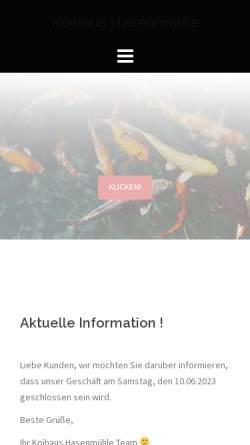 Vorschau der mobilen Webseite www.koihaus-hasenmuehle.de, Koihaus-Hasenmühle