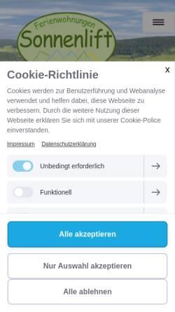 Vorschau der mobilen Webseite urlaub-in-willingen.de, Ferienwohnungen Sonnenlift
