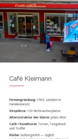 Vorschau der mobilen Webseite www.cafe-kleimann.de, Cafe Kleimann