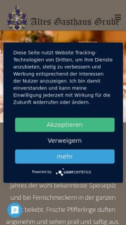 Vorschau der mobilen Webseite www.altes-gasthaus-grube.de, Altes Gasthaus Grube