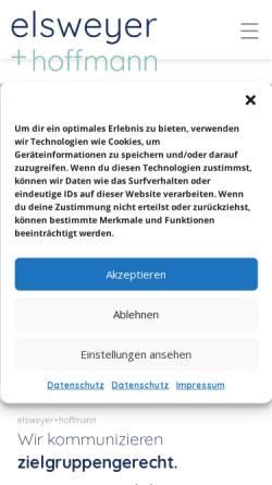 Vorschau der mobilen Webseite www.elsweyer-hoffmann.de, Agentur Elsweyer+Hoffmann, Inh. Thomas Elsweyer
