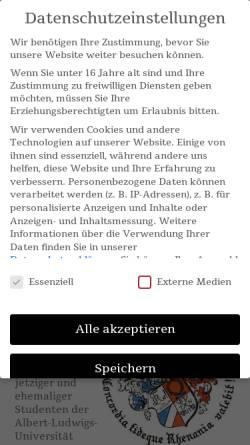 Vorschau der mobilen Webseite www.rhenania-freiburg.de, Rhenania