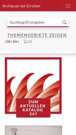 Vorschau der mobilen Webseite www.antiquariat-gruber.de, Antiquariat Gruber