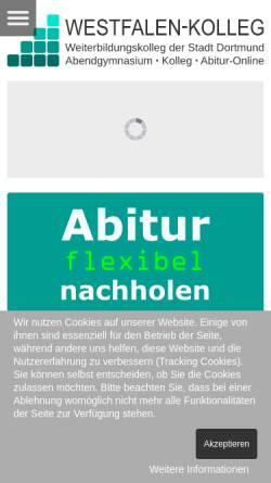 Vorschau der mobilen Webseite www.westfalenkolleg-dortmund.de, Westfalen-Kolleg