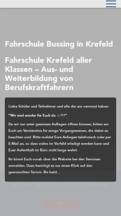 Vorschau der mobilen Webseite www.fahrschule-bussing.de, Fahrschule Horst Bussing