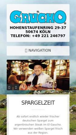 Vorschau der mobilen Webseite www.el-gaucho.de, El Gaucho