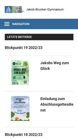 Vorschau der mobilen Webseite www.jakob-brucker-gymnasium.de, Jakob-Brucker-Gymnasium Kaufbeuren