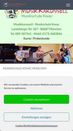 Vorschau der mobilen Webseite www.musikschule-kovac.de, Musikschule Kovac