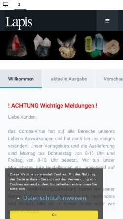Vorschau der mobilen Webseite www.lapis.de, Lapis Mineralienmagazin