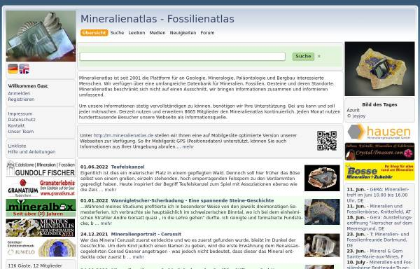 Vorschau von www.mineralienatlas.de, Mineralien und Fossilien