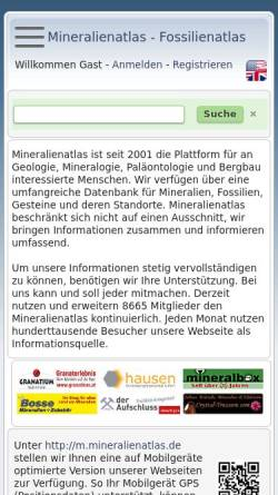 Vorschau der mobilen Webseite www.mineralienatlas.de, Mineralien und Fossilien