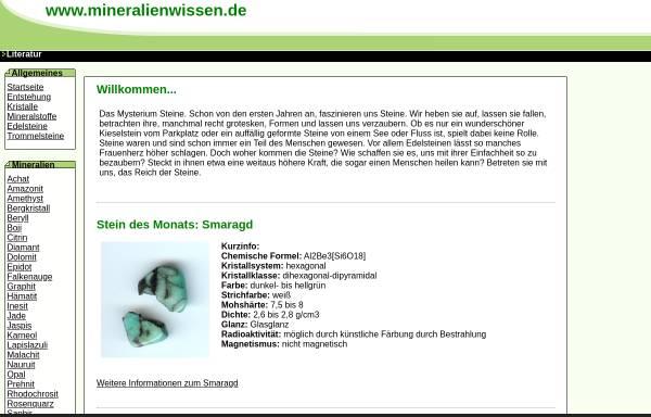 Vorschau von www.mineralienwissen.de, Mineralienwissen.de