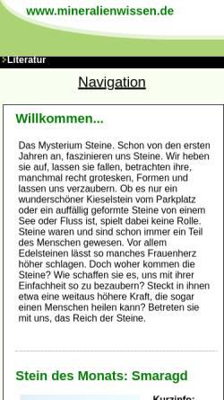 Vorschau der mobilen Webseite www.mineralienwissen.de, Mineralienwissen.de