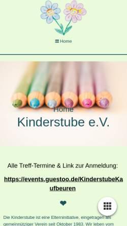 Vorschau der mobilen Webseite www.kinderstube-kaufbeuren.de, Kinderstube Kaufbeuren e.V.