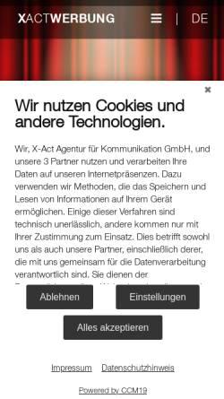 Vorschau der mobilen Webseite www.xactwerbung.de, X-act Agentur für Kommunikation GmbH