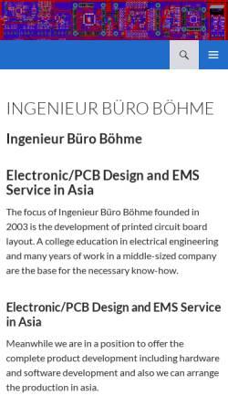 Vorschau der mobilen Webseite www.elektronikcad.de, Ingenieur Büro Böhme, Inh. Ing. (grad.) Frank Böhme