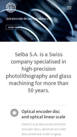 Vorschau der mobilen Webseite selba.ch, Selba S.A.