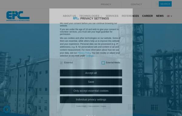 Vorschau von www.epc-online.de, Engineering und Projektmanagement Consulting GmbH