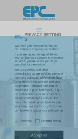 Vorschau der mobilen Webseite www.epc-online.de, Engineering und Projektmanagement Consulting GmbH