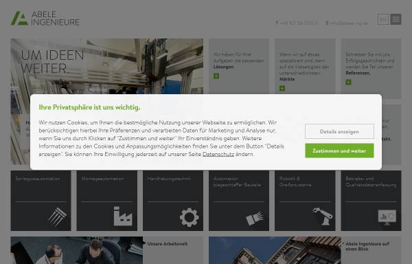 Vorschau von www.ima-abele.de, IMA Ingenieurbüro A. Abele + Partner GmbH