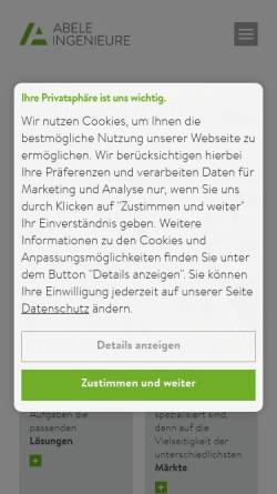 Vorschau der mobilen Webseite www.ima-abele.de, IMA Ingenieurbüro A. Abele + Partner GmbH