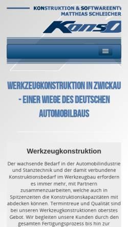 Vorschau der mobilen Webseite www.konso.de, Konso - Konstruktion & Softwareentwicklung, Inh. Matthias Schleicher