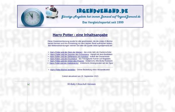 Vorschau von irgendjemand.de, Harry-Potter-Inhaltsangabe