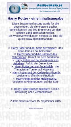 Vorschau der mobilen Webseite irgendjemand.de, Harry-Potter-Inhaltsangabe