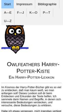 Vorschau der mobilen Webseite www.eulenfeder.de, Viola Owlfeathers Harry-Potter-Kiste