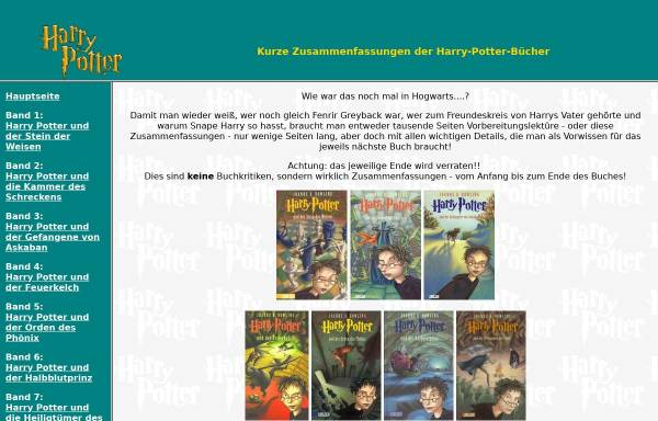 Vorschau von xiane.de, Xianes Zusammenfassungen von Harry Potter